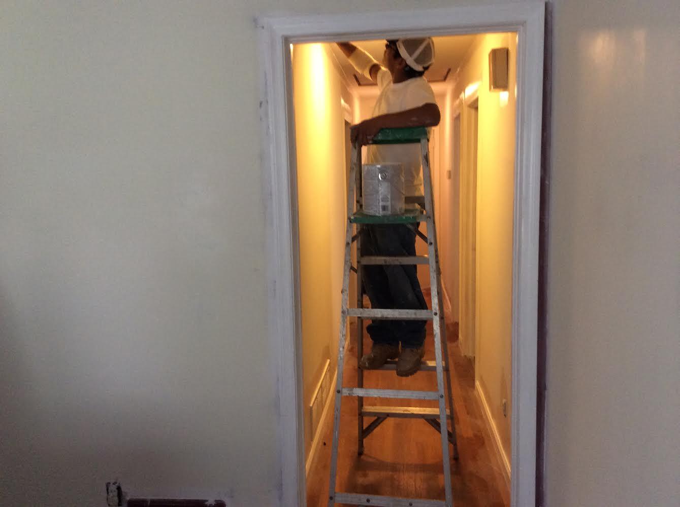 Hannah Parker Home hallway painting Benjamin Moore Ashwood